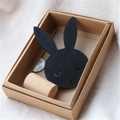 1Pcs Nordic Style Black White Wood Cute Rabbit Hook Wall Decorations Kid's Room Wall Decor Clothes Hanger  UpCube- upcube