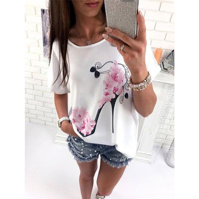 #4522 2017 New Fashion Women Short Sleeve High Heels Printed Tops Beach Casual Loose Blouse Top Plus size Shirt - Dailytechstudios