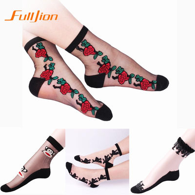 1Pair New Hot sales Summer Colorful print floral Ultrathin Transparent Beautiful Crystal Lace Elastic Short Women Socks  dailytechstudios- upcube