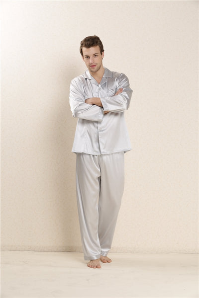 100% Real Silk Pajama Sets for Male Man Pyjamas Lovers Sleepwear 2017 New Lounge Sets Spring Gifts AU80031-1