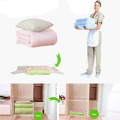 1pcs Hot Vacuum Bag Storage Organizer Transparent Border Foldable Extra Large Seal Compressed travel Saving Space Bags  UpCube- upcube