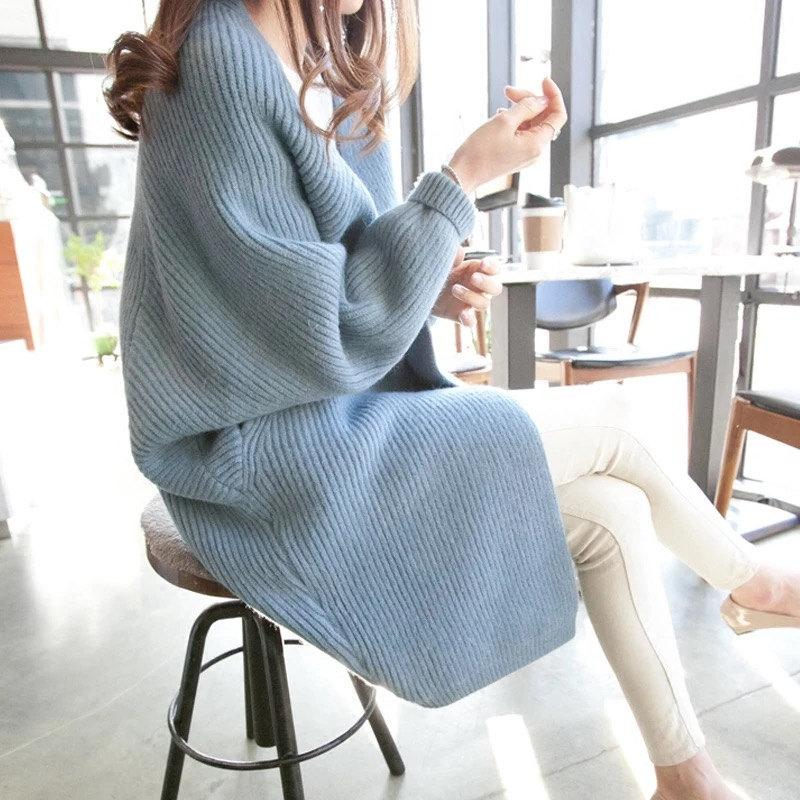 10 Colors Batwing Sleeve Long Cardigan Sweaters Women Fall Autumn Winter Casual Knit Loose Jumper Outwear Oversize Cardigan
