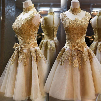 100% Real Images Gold Cocktail Dress Party Lace Dresses High Neck A-line  Short 5586d404236b