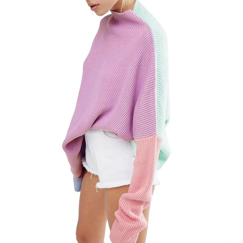 High Neck Jumper With Eyes Embroidery In Color Block Sweater Bat-wing Sleeves Loose Leisure Pullover TA02800052