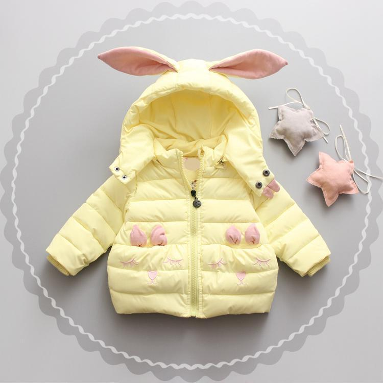 6f0a92093 Denim Season Korean Cartoon Baby Girls Coat Causal Rabbit Ear Hooded ...