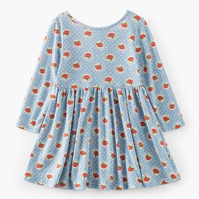 0-8 Years Rose Floral Dots Baby Girls Dress Draped Backless Girls Princess Birthday Dress Autumn Children Clothes - Dailytechstudios