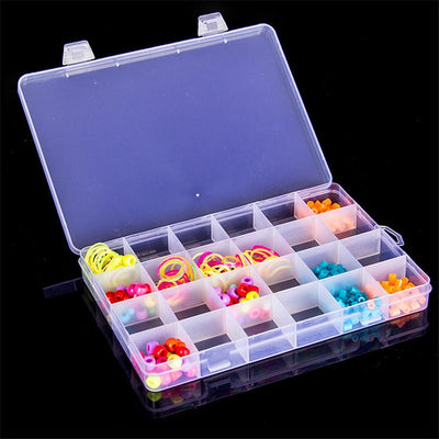 1pc Adjustable 24 Compartment Plastic Box Storage Jewelry Earring Case Container Hot Item  UpCube- upcube