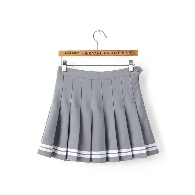 2016 High Waist Girls Skirt Navy pleated schoolgirls skirt uniforms cos macarons waist pleated skirt multicolor female