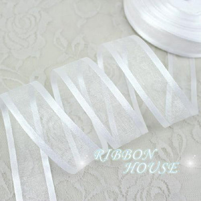 (50 yards/roll) 1'' (25mm) White broadside organza ribbons wholesale gift wrapping decoration ribbons - Dailytechstudios