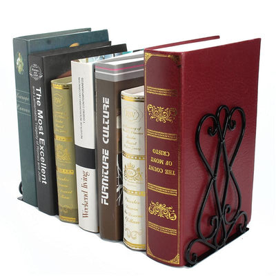 1Pair Metal Foldable Book Ends Holder Vintage Bookend Shelf Home Ornaments Office School Supplies Student Stationery Organiser  UpCube- upcube