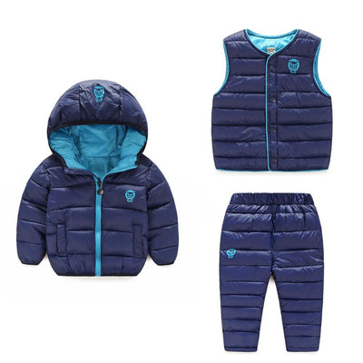 (3 pieces) Winter Kids Clothing Sets Warm Duck Down Jackets Clothing Sets Baby Girls & Baby Boys Down Coats Set With Pants - Dailytechstudios