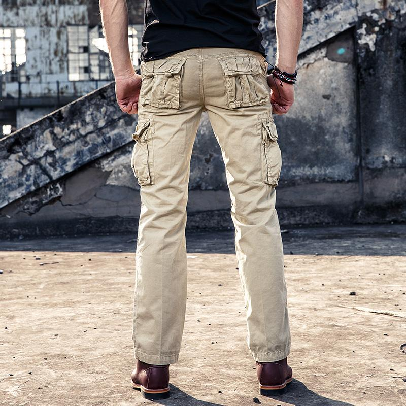 KAM Mens Big Size Relaxed Fit Cotton Combat//Cargo Pants in Khaki