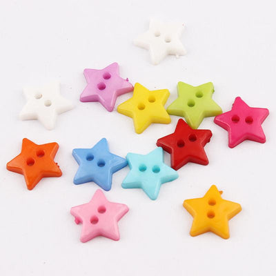 100PCS Clothes Sewing Accessories 2Holes Star Flatback Colorful Cartoon Buttons Botones Craft Buttons MINI 12*12mm  UpCube- upcube