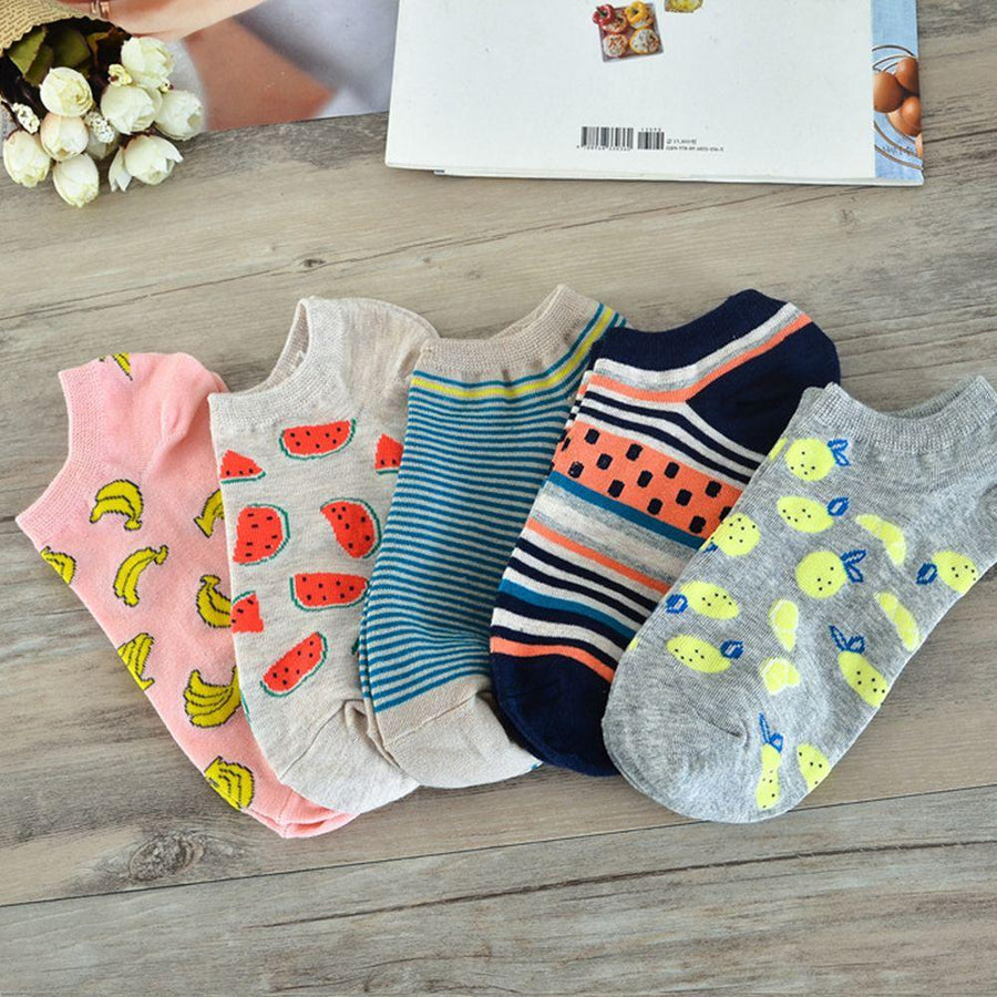 1 Pair Cute Casual Cotton Women Girl Fruit Short Ankle Sock Soft Striped Boat Socks - Dailytechstudios