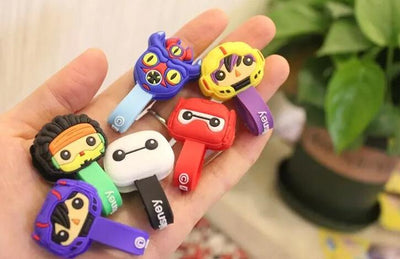 100PCS Big Hero Cartoon Universal Earphone Headset USB Silicone Rubber Cable Bobbin Winder Cable Holder Organizer With Buttons  UpCube- upcube