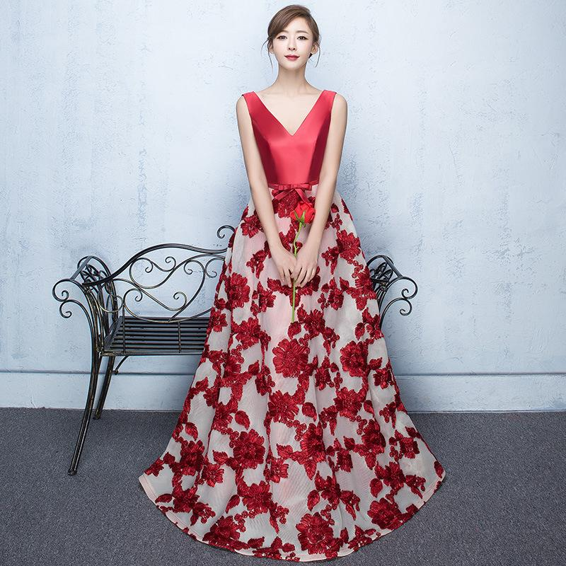 It's YiiYa 2017 Sales 3 Color Sleeveless V-Neck Prom Dresses Flower Pattern Bow Embroidery Vintage Fashion Evening Dress X021