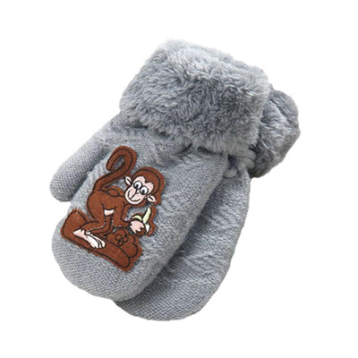 #3055 1 pair Cute Thicken Hot Monkey Cartoon children 's gloves Of Winter Warm Gloves - Dailytechstudios