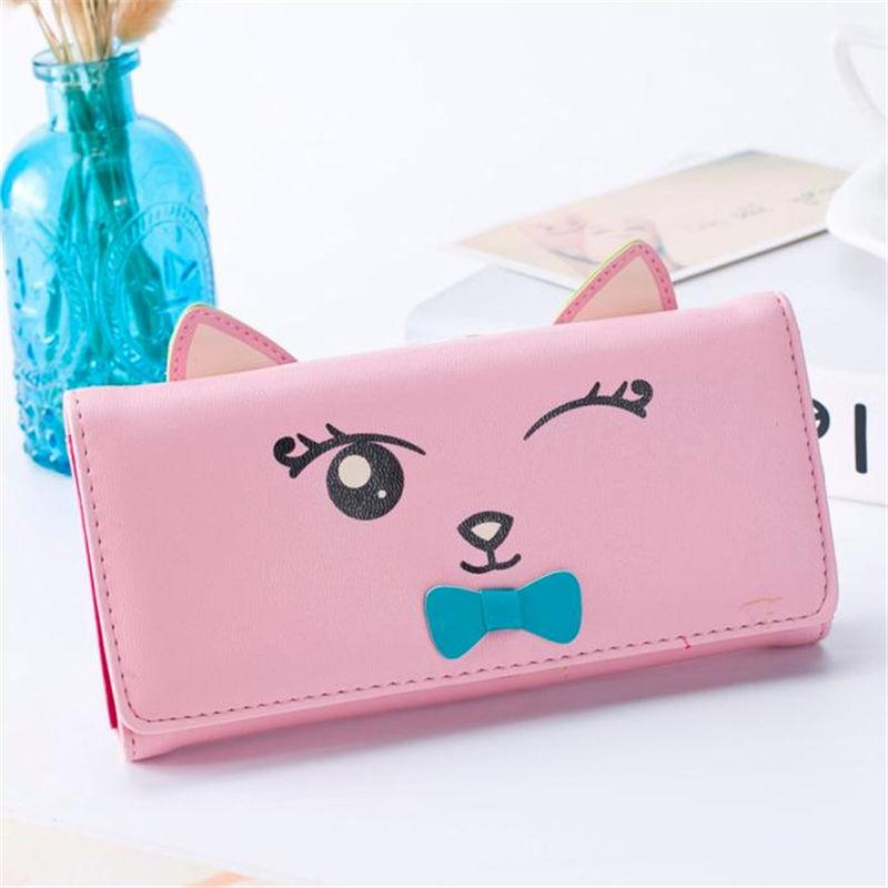 2017 Cute Cartoon Pattern Fashion Design Cat Women Wallets and Purses Brand Leather Long Wallet Female Coin Pocket Card Holders