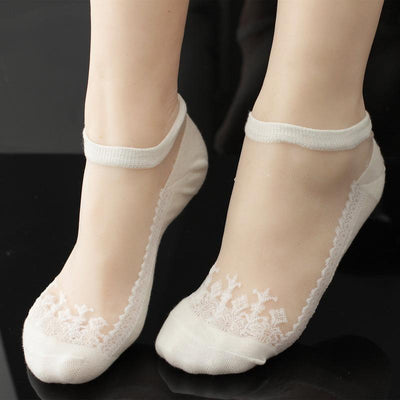 1Pair=2pieces Lace Socks Crystal Silk Emboridery Ears of Wheat Sexy Spring Summer Boat Socks High Quality Women Socks  dailytechstudios- upcube