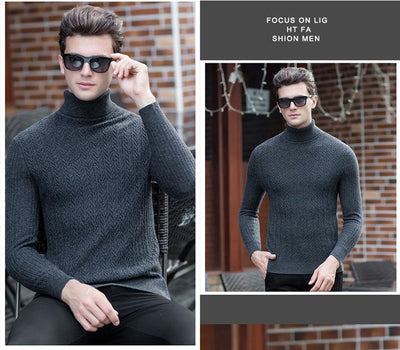 100% wool sweater men 2018 Fall winter high quality fashion new men's striped turtleneck pullovers  UpCube- upcube