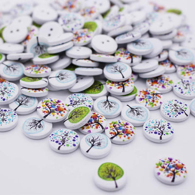 100pcs New Tree Design 2 Holes Wooden Buttons Sewing Buttons Craft Scrapbooking Clothing Accessories  UpCube- upcube
