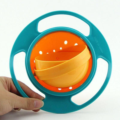 1 pcs Safety Baby Feeding Dishes Bright Color Children Kid Baby Toy Universal 360 Rotate Spill-Proof Bowl Dishes - Dailytechstudios
