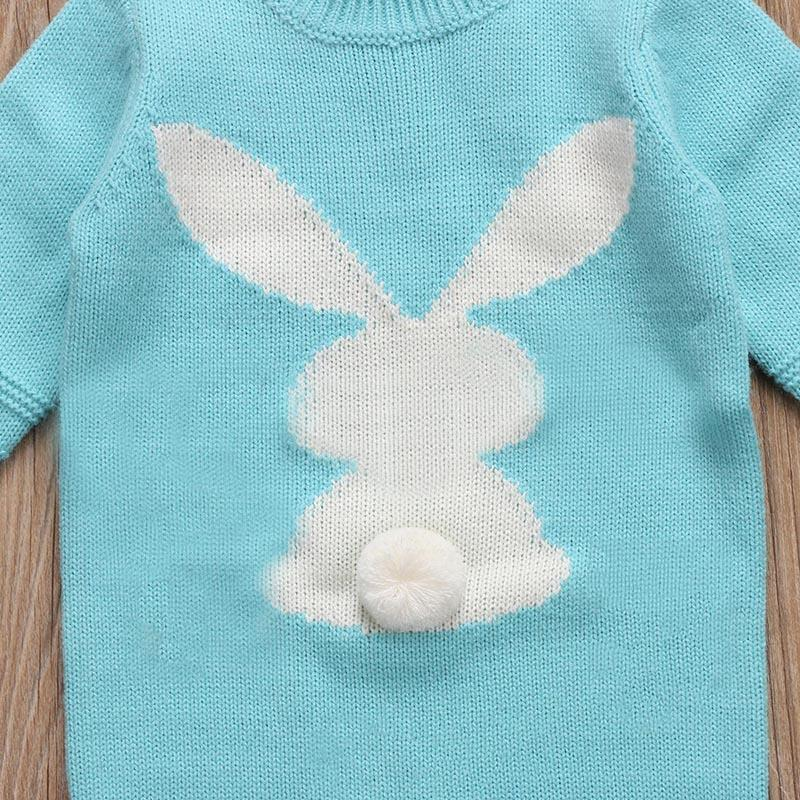 2017 Autumn Winter Cute Newborn Baby Boy Girl Knit Romper Long Sleeve Bunny Warm Jumpsuit Playsuit Oufits Clothes