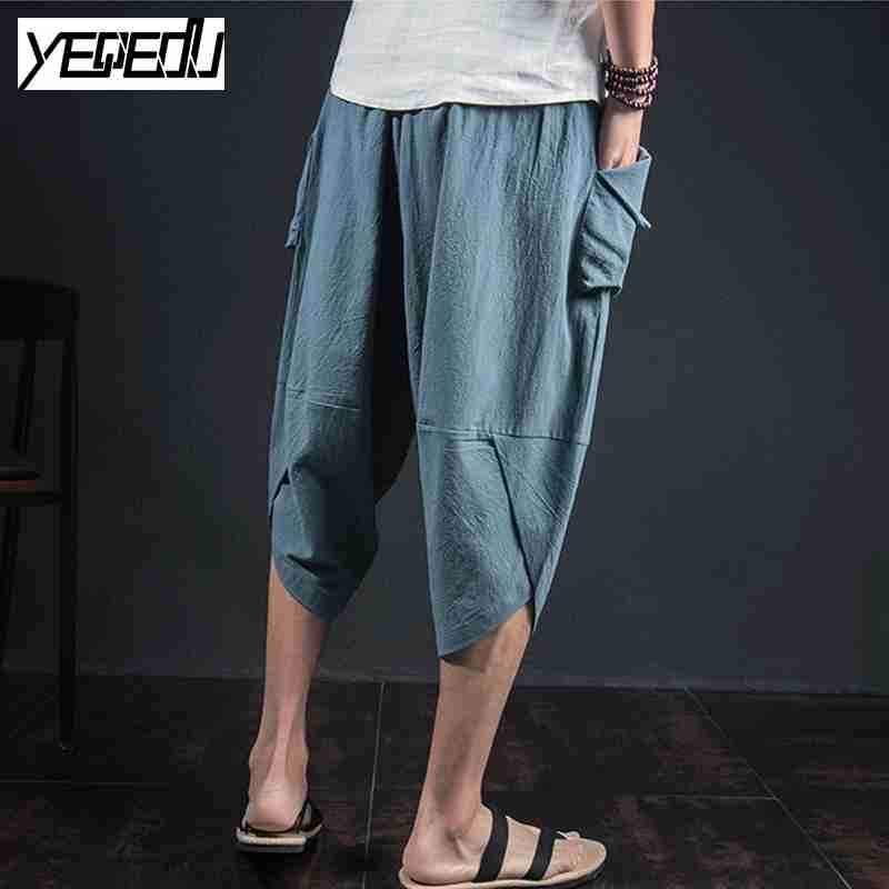 #1333 Lightweight Pants with side pockets Loose Large size trousers Mens joggers Baggy Linen pants men Vintage Wide leg pants