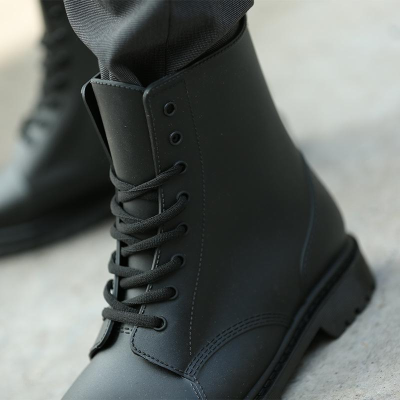 2017 ankle boots for men rain boots summer boots PVC rainboots solid cross-tied fashion mens rubber  UpCube- upcube