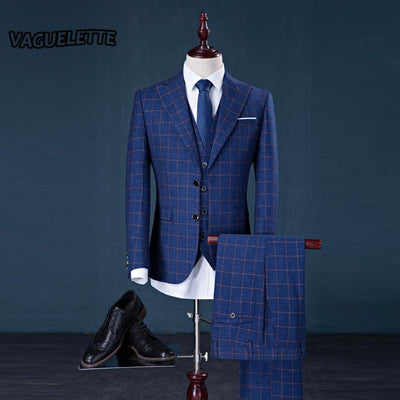 (Blazer+Pants+Vest) Tweed Plaid Suit Mens Classic Vintage Gentleman Formal Wear Skinny Wedding Mens Navy Suit With Pants M-3XL - Dailytechstudios
