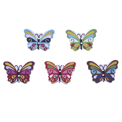 100Pcs Sewing Accessories Flatback Scrapbooking Wood Buttons Mix 17x24mm Butterfly 2 Holes Wooden Buttons Craft  UpCube- upcube