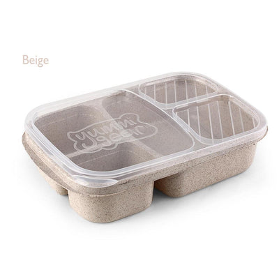 1 Pcs 3 Compartment Wheat Straw Picnic Microwavable Meal Storage Food Prep Box Lunch Container - Dailytechstudios
