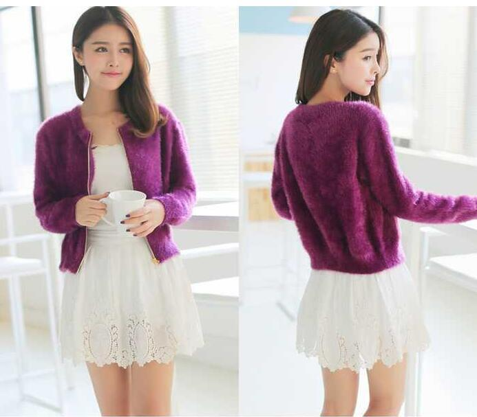 1 piece spring autumn winter new short section of loose fluffy mohair cardigan sweater jacket zipper female tide 4 colors