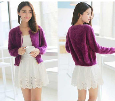 1 piece spring autumn winter new short section of loose fluffy mohair cardigan sweater jacket zipper female tide 4 colors - Dailytechstudios