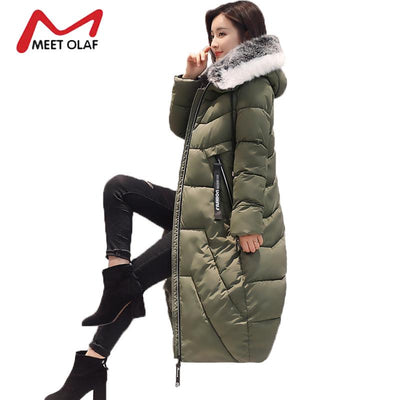 2017 Fur Hooded Women's Winter Down Jackets Female Long Winter Coats Long Parkas Wadded Ladies chaquetas invierno mujer Y1734  dailytechstudios- upcube