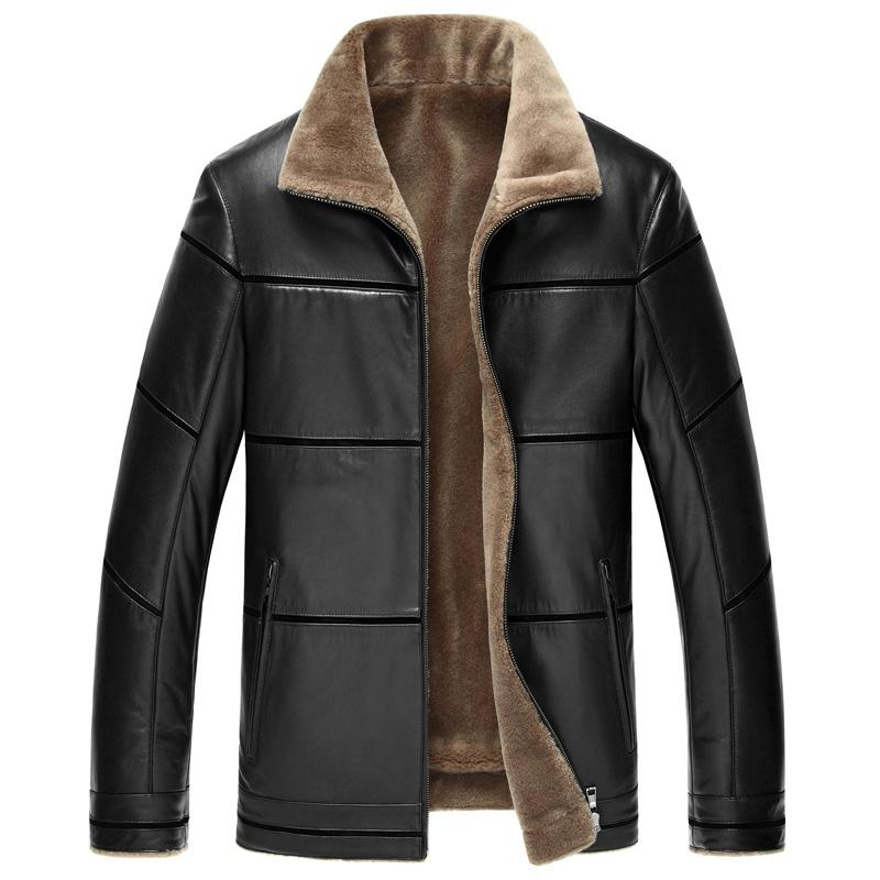 2017 Leather Jacket Men Warm Thick Plus Velvet Lining Sheepskin Faux Leather Jacket Loose Chaquetas De Couro Plus Size 8XL HJ512