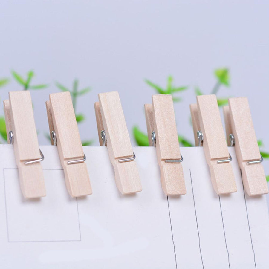 100 Pcs Mini Wooden Clothes Photo Paper Peg Clothespin Laundry Hangers Wedding Party Natural Clip 2.5cm