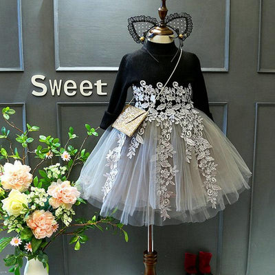 2017 girl long sleeve embroidery flowers dress autumn tutu dress  UpCube- upcube