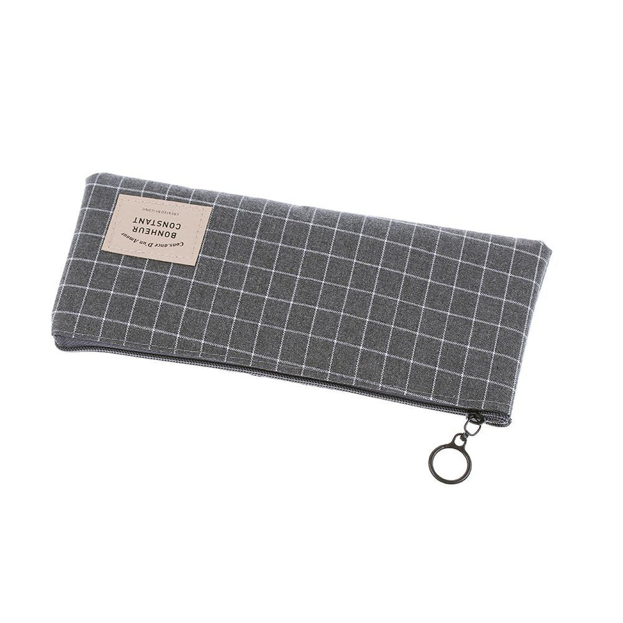 1 PC Canvas Makeup Bag School Supplies Grid Organizer Canvas Pencil Case Cosmetic Pouch Stationery Storage Makeup Bag - Dailytechstudios