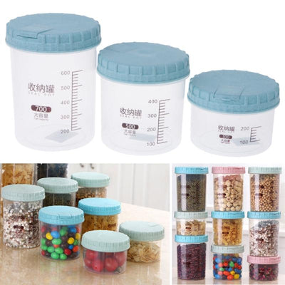1PC 300ml/500ml /700ml Kitchen Plastic Food Cereal Grain Storage Box Containers Transparent Sealed Tank Dec4  UpCube- upcube