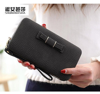 2016 han edition wallet female long lovely bowknot sell like hot cakes brand SHUNVBASHA students high-capacity mobile wallet  UpCube- upcube