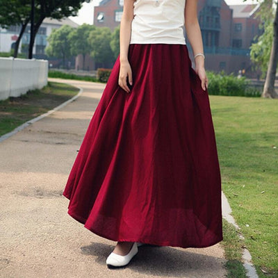 10 Solid Color New Long Skirts Womens Bohemian Casual Elastic Waist Linen Circle Big Pendulum A Line Cotton Skirt