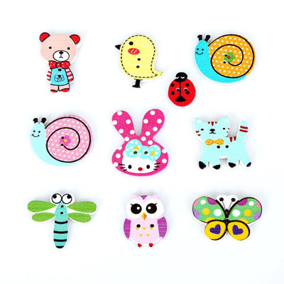 100pcs 2 Holes Random Mixed Decorative Cartoon Lovely Animal Wooden Button for Sewing Accessories DIY Craft Scrapbooking Mak  UpCube- upcube