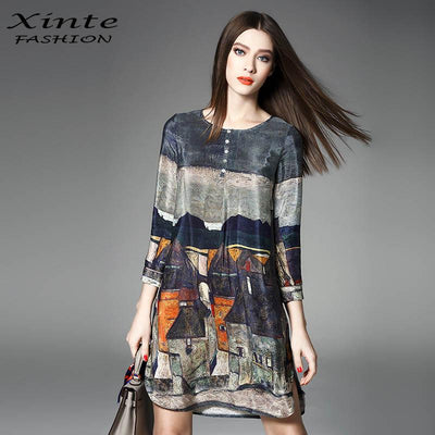 100% Real Silk Dress 2017 Women Spring Vintage A-line Printing Loose Plus Size Dresses Top Quality Three Quarter Sleeves