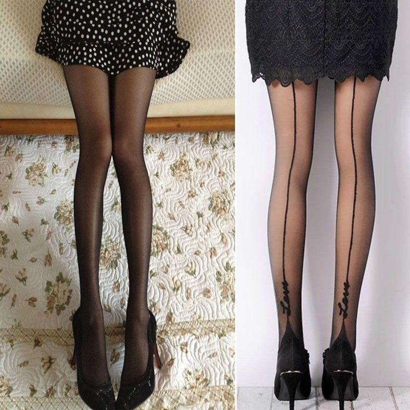 1 Pair Female Sexy Stockings Pantyhose English Love Letter Tattoo Jacquard For Woman Girl - Dailytechstudios