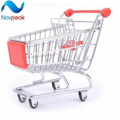1pcs New Vogue Cute Mini Shopping Cart Supermarket Handcart Stainless Steel Mode Storage box as gift for kitchen tool  UpCube- upcube