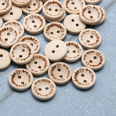 100Pcs/Bag 15mm/20mm/25mm 2 Holes Wooden Buttons Handmade Letter Love Scrapbooking For Wedding Decoration  UpCube- upcube