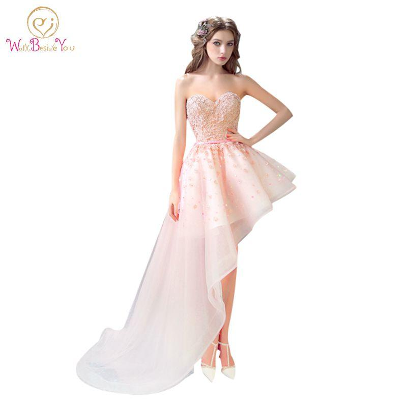 100% Real Images Elegant Pink Cocktail Dresses Asymmetrical Side Long Short  Party Lace Sequin Tulle 1b7f409009e1