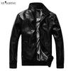 2018 Spring Autumn Jaqueta Couro Masculina Male Leather Jacket Plus Size Black Brown Mens Mandarin Collar PU Coats