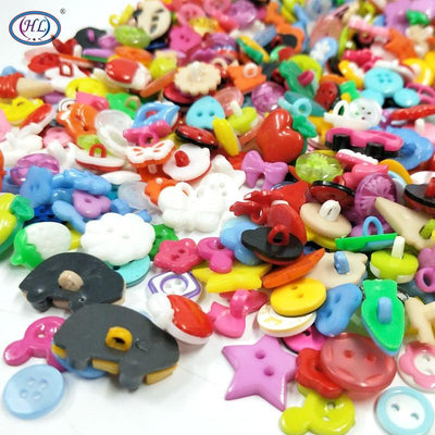 100PCS Mix Shape Lots Colors DIY Scrapbooking Cartoon Buttons Plastic Buttons Children's Garment Sewing Notions  UpCube- upcube